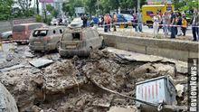 Потужний прорив труби в Києві: струмінь води сягав 7 поверху