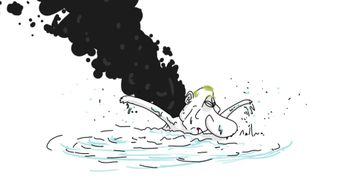 """Карикатурист дотепно висміяв задимлений """"похід"""" флоту Путіна"""