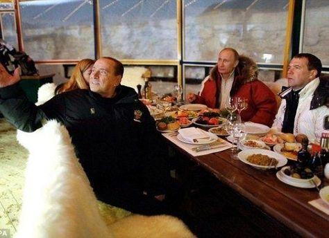 Путин, Медведев и Берлускони