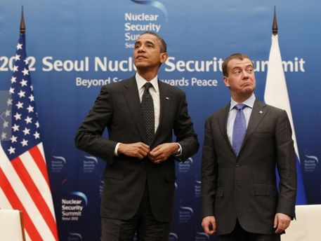 Барак Обама та Дмитро Медведєв