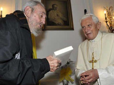 Фидель Кастро и Папа Римский Бенедикт XVI