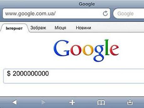 Скриншот страницы Google в мобильном браузере Safari