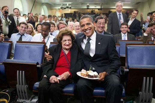 Хелен Томас и Барак Обама