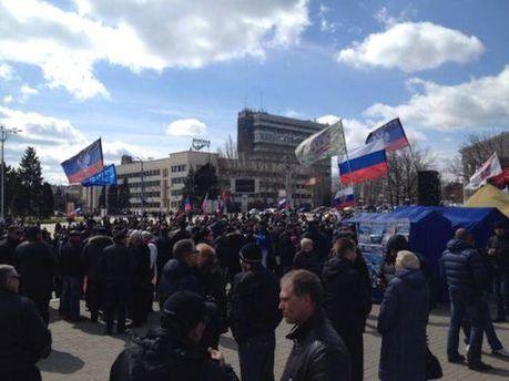 Митинг сепаратистов в Донецке