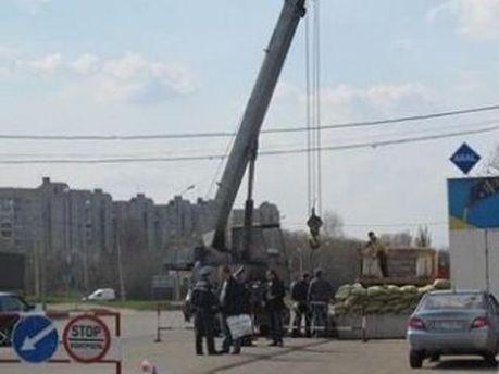 Установка блокпоста в Харькове