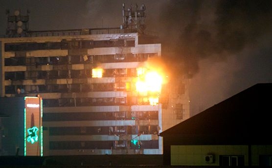 Пожар в Доме печати в Грозном