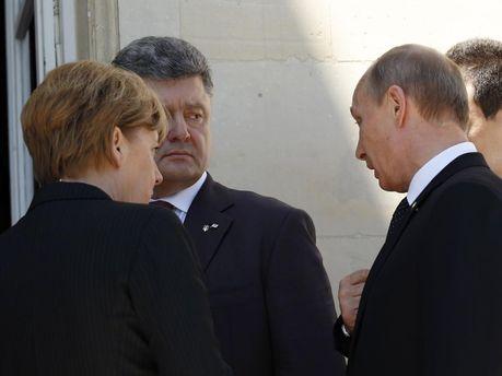 А. Мркель, П. Порошенко і В. Путін