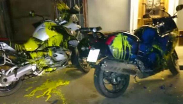 Облитые краской мотоциклы
