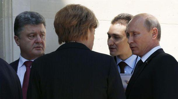 Петро Порошенко, Ангела Меркель і Володимир Путін