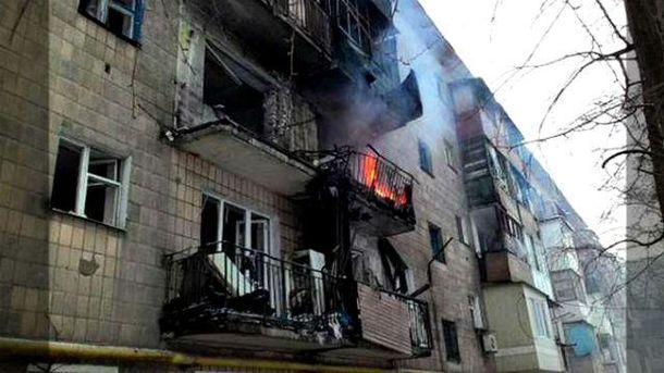 Дом после попадания снаряда