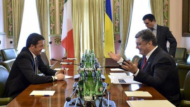 Прем'єр- міністр Італії Маттео Ренці і Петро Порошенко
