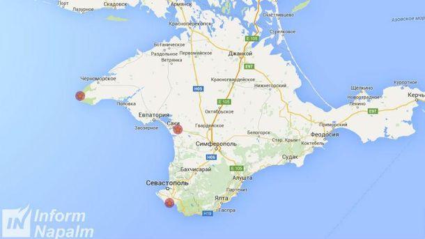 На карті позначені місця, де помічені БРК