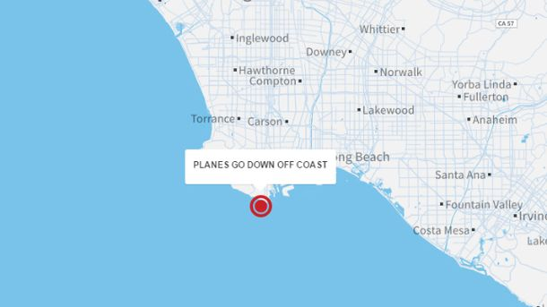 Місце катастрофи на карті