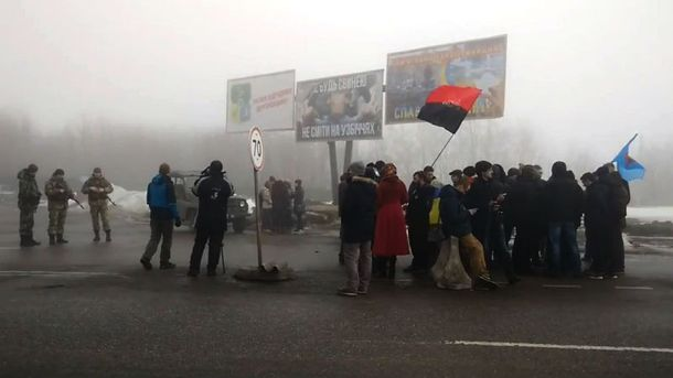Блокада российских грузовиков в Харьковской области