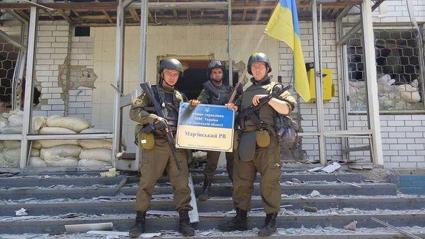 Українські військові в Мар'їнці