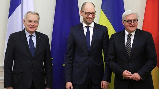 Жан-Марк Эро, Арсений Яценюк и Франк-Фальтер Штайнмайер