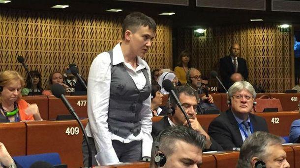 Надежда Савченко пожелала вПАСЕ спокойствия Украине ивсей Европе