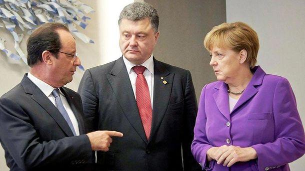 Порошенко проведет переговоры сМеркель иОлландом оситуации вКрыму