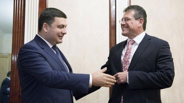 Встреча вице-президента ЕК Шефчовича и украинского премьера Гройсмана