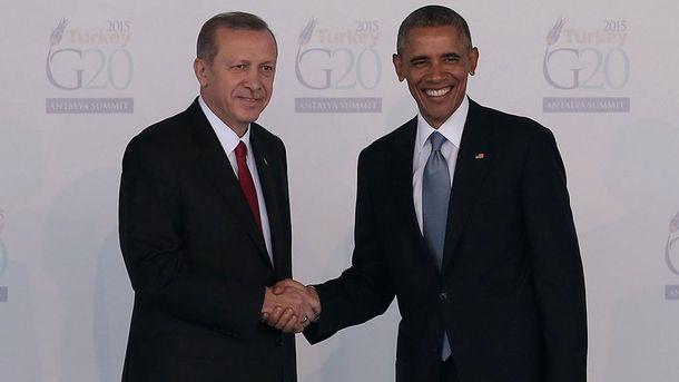 Эрдоган и Обама на встрече во время саммита G20 в Китае