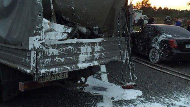 НаЛьвівщині Chevrolet нашвидкості влетів убригаду комунальників, є жертви