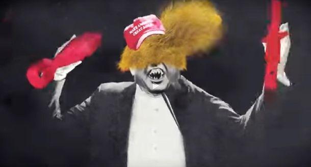 Монстр Дональд Трамп вклипе Green Day