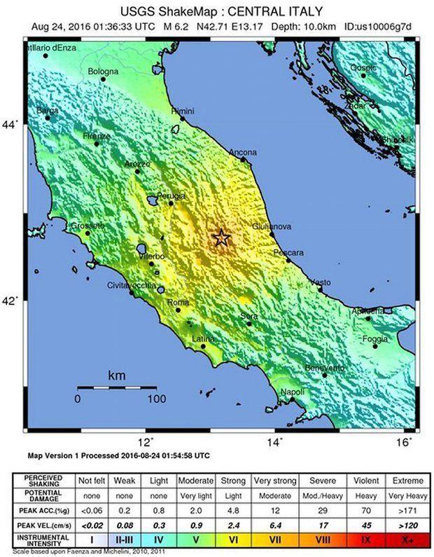 Землетрус, Італія