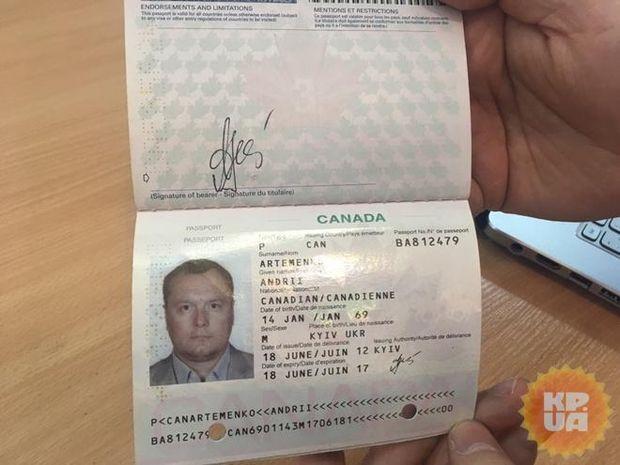 Артменко, паспорт, Канада