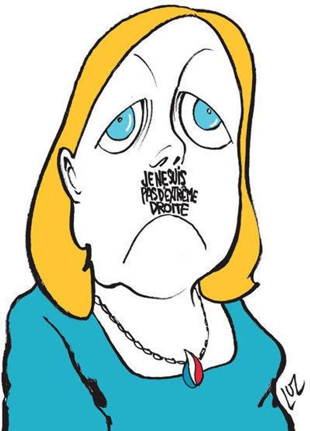 Улюблениця Путіна Марін Ле Пен з гітлерівськими вусиками. Під носом напис –
