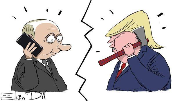 Карикатура на телефонний дзвінок Володимира Путіна з Дональдом Трампом