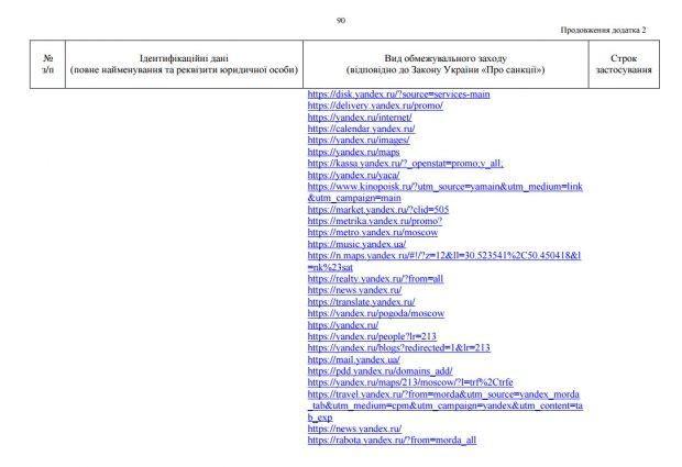 Перелік сайтів, які потрапили під заборону на території України