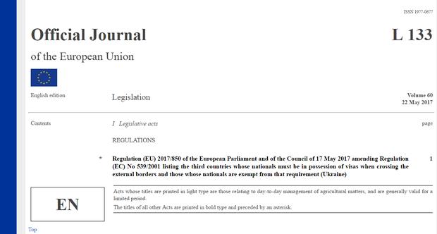 Рішення про безвіз для українців опубліковано в офіційній пресі ЄС