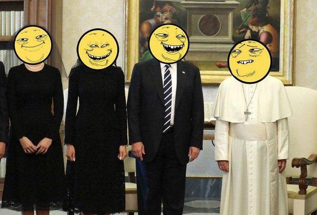 Меми про зустріч Трампа і Папи