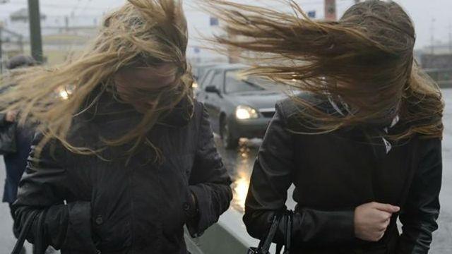 Сильные порывы ветра движутся на Киев